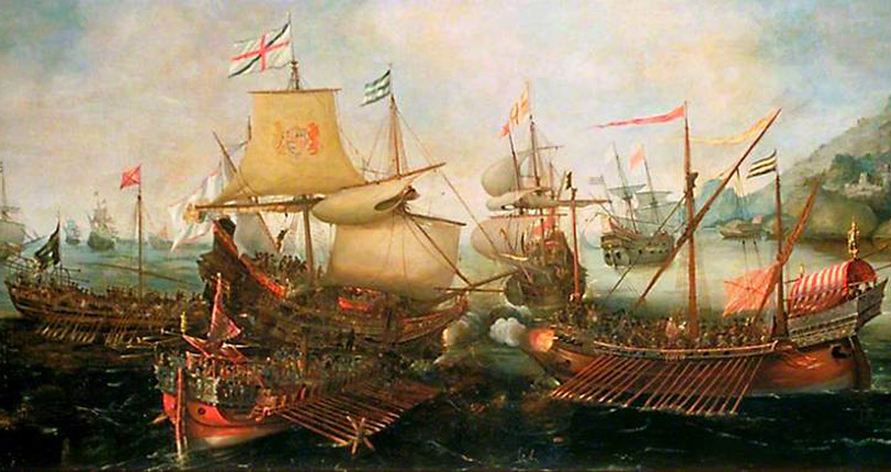 Sir Richard Leveson and Sir William Manson attacked Spanish Galleons off Sesimbra